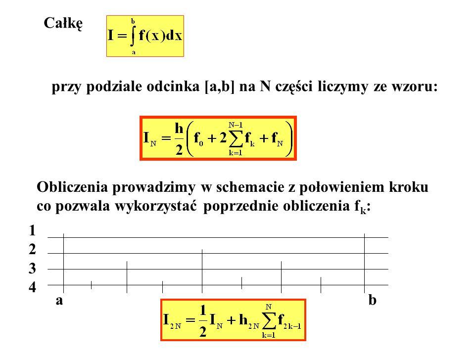 Całkę przy podziale odcinka [a,b] na N części liczymy ze wzoru: Obliczenia prowadzimy w schemacie z połowieniem kroku.